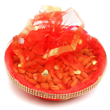 Fruit and dry fruit basket with boquet